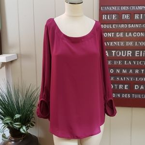 LOFT | L fuschia pink tunic blouse career top.
